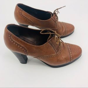 J. Crew brown Leather Oxford pumps ankle boot